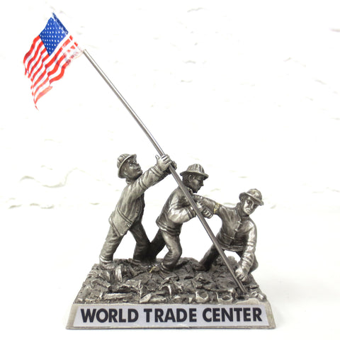 World Trade Center New York 9/11 Ground Zero Workers Souvenir, Pewter, American Flag