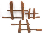 3 Large Antique Primitive Wooden Vise Clamps Tools, Carpentry, Picture Frames