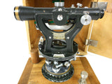 Vintage Hugues Owens Brass Surveyor Transit with Compass and Dovetail Wood Box
