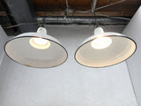 "Industrial White Porcelain Enamel Ceiling Light 16"", Vintage Benjamin Shades"