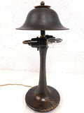 "Antique Art Nouveau Bronze Lamp 17"" with 2 Light Arms and Brass Shade, New Wires"