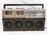 Vintage Eversonic Boombox Ghetto Blaster 3 Way 6 Speakers Dual Cassette Tape