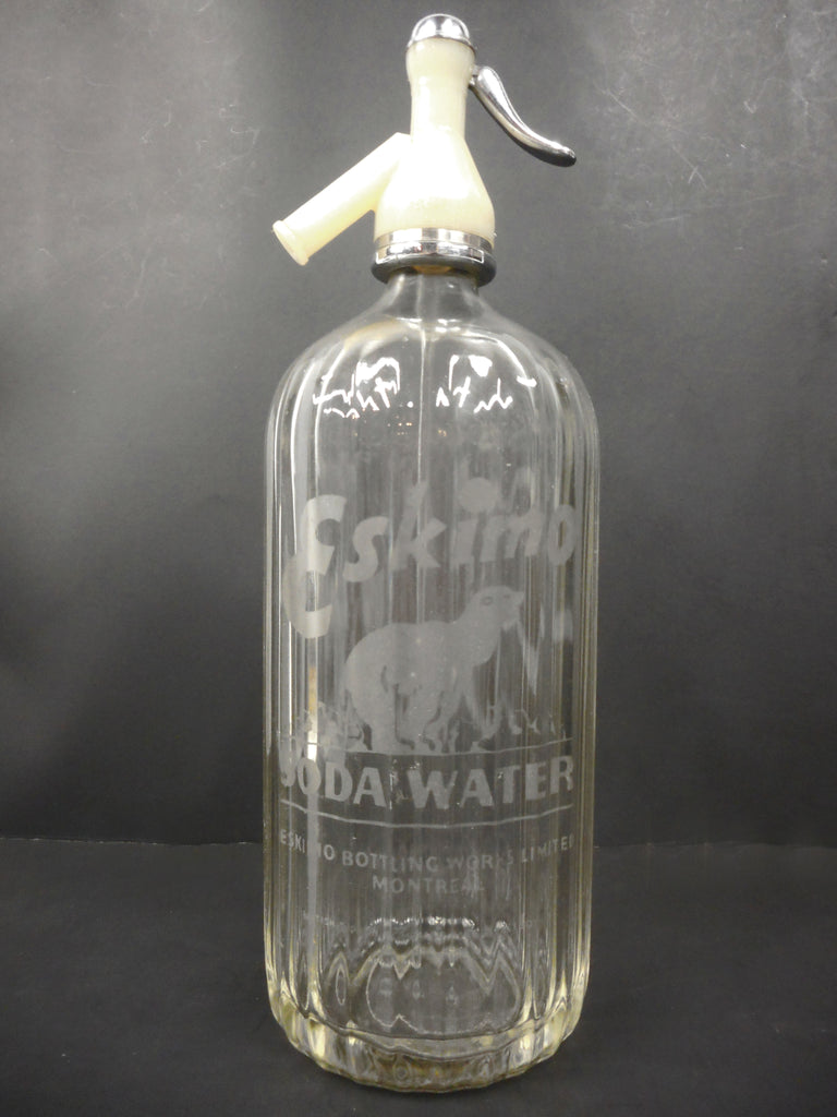 "Vintage Eskimo Soda Water Glass Bottle 13"" Original Syphon, Eskimo Bear Montreal"
