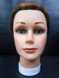 "Vtg Dannyco Mannequin Head 10"" Shaved Marbled Brown Hair Cut, Store Display"