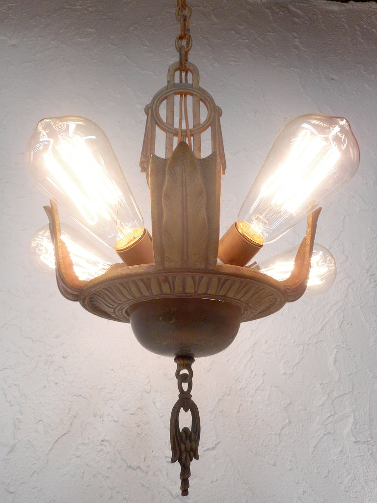 Antique Art Deco 5 Lights Slip Shade Chandelier 26 Electrolier Montreal Gold