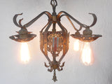"Vintage Masonic Temple 5 Lights Wrought Iron Chandelier 26"" Montreal, Fleur Lys"