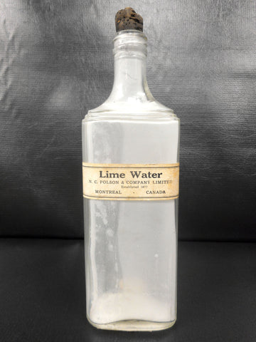 Antique Lime Water Glass Bottle Medicine 16 oz, Polson 1877 Montreal, Canada