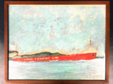 "Angus Trudeau 1973 Mixed Media Painting, Canada Steamship Line, 15X19"" Rimouski"