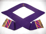 "Vintage 1960's Hand Embroidery Church Priest Shawl 50"" Purple, Cross, Gold"