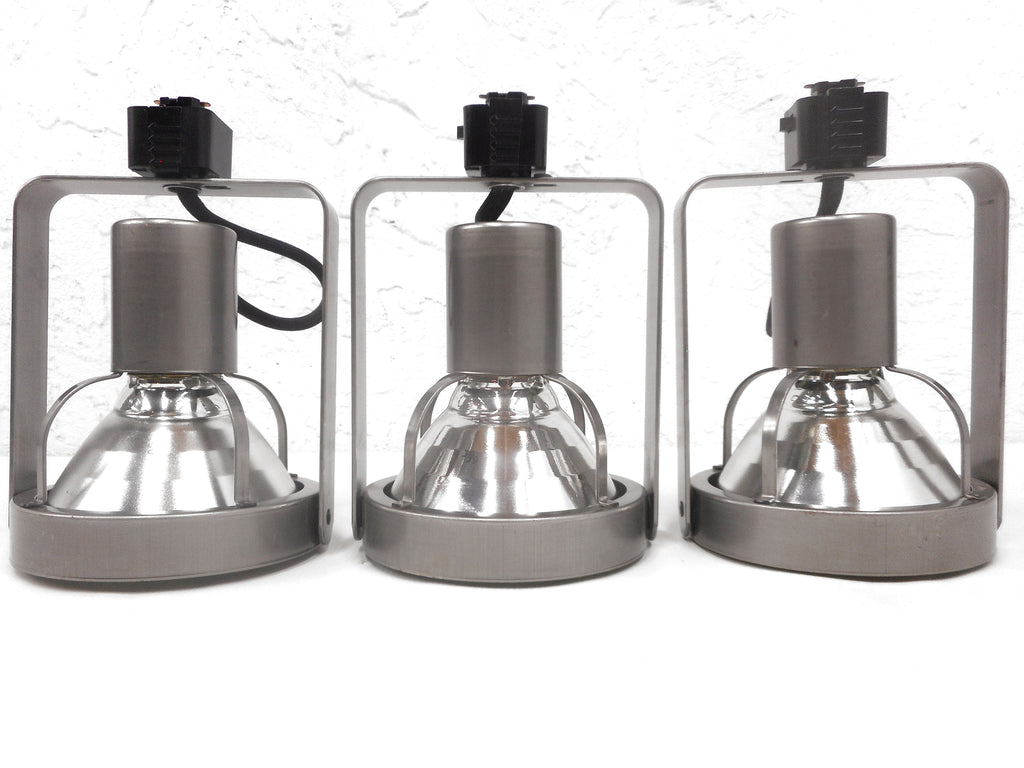3 Industrial Juno Stainless Steel Spotlights for Track Lights, Luxury Lights, Swivels 180, Lot #1