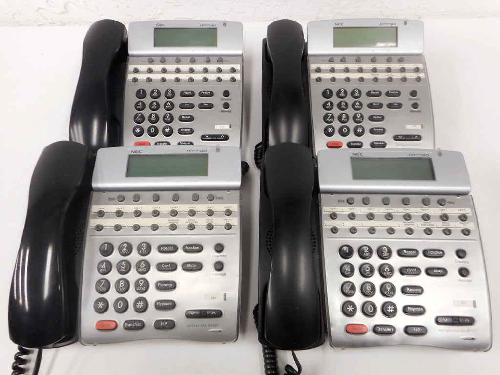 Lot 4 NEC Office Telephones Dterm80, 16 Multi Lines, LCD Digital Folding Screens, Models DTH-16D-1 and 2