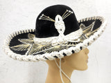 "Vintage 15"" Black Felt Sombrero Signed Pigalle, Kid Medium Hat Size 6 3/8"" 51 cm 20 1/8"", Mexican Mariachi Hat"