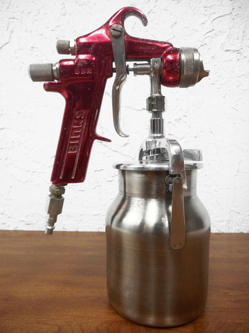 "Binks BBR Professional Paint Spray Gun with Binks AS20 Nozzle Tip and 4"" Suction Feed Cup, Red"