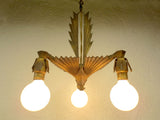 "Antique 1920s Art Deco 3 Light Slip Shade Chandelier 11"" Geometric Ceiling Fixtu"