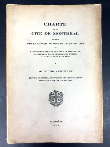 WWII 1942 Book Charter of the City of Montreal, Laws & Corruption Quebec, Canada