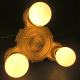 "Antique 1920s Markel Art Deco 3 Light Slip Shade Chandelier 11"" Ceiling Fixture"