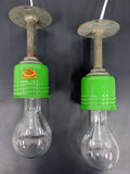 Rare Vintage Industrial Spun Metal Pendant Lights, Green Enamel Porcelain Shades