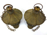 "Antique Japanese Lanterns Pair 12"" Heavy Brass, Buddhist Temple Lanterns, Chains"