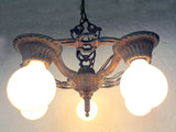 "Antique Art Deco Alwyn 5 Lights Slip Shade Chandelier, 16"", Multi-Colored"