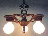 "Antique Art Deco Alwyn 3 Lights Slip Shade Chandelier 12"", Ceiling Fixture, Red"