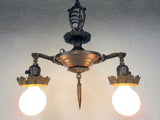 "Vintage Art Deco 2 Lights Slip Shade Chandelier 16"", Ceiling Fixture with Canopy"