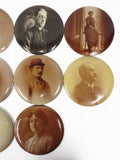 "Lot of 11 Antique 1910 Photo Buttons, 6"" Columbia Medallions Chicago"