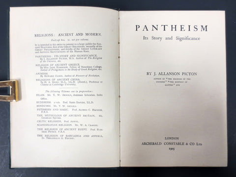 Antique 1905 Pantheism Religion Book by J. Allanson Picton, Archibald London