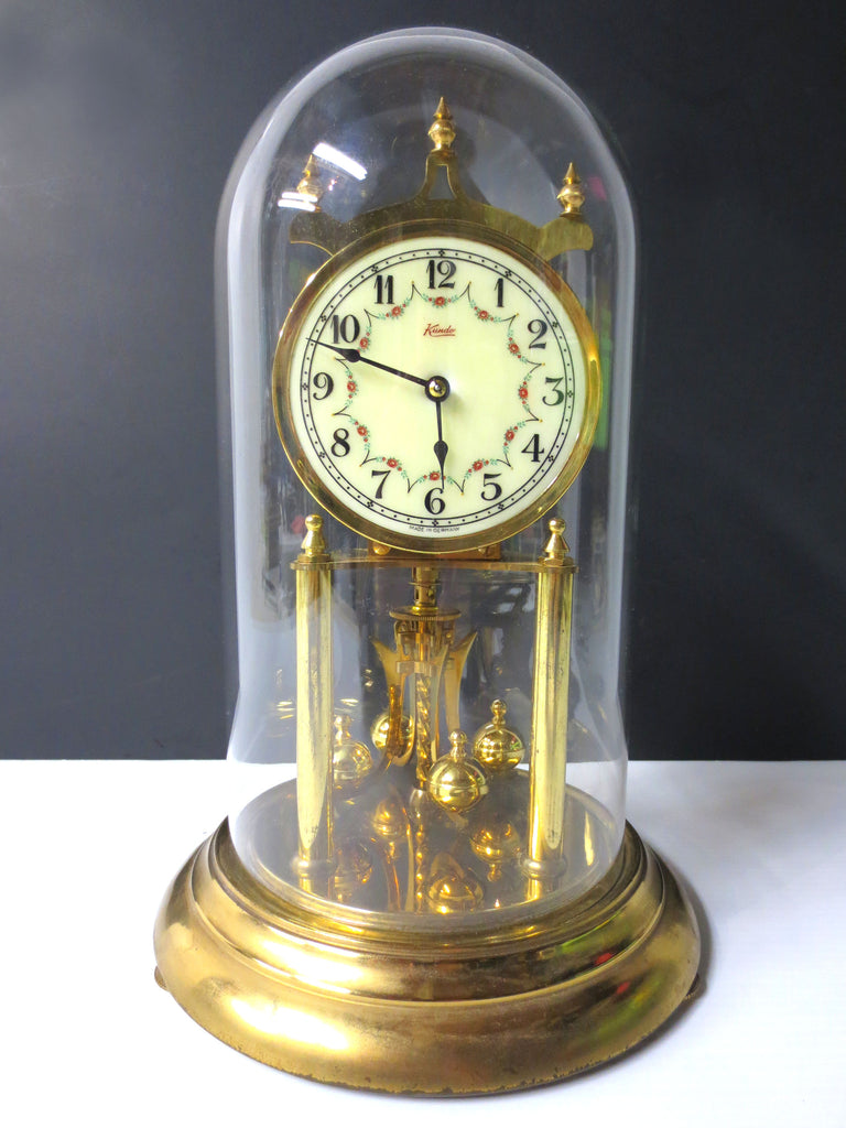 "Kundo 400 Day Anniversary Glass Dome Mantel Clock 12"" West Germany Kieninger & O"