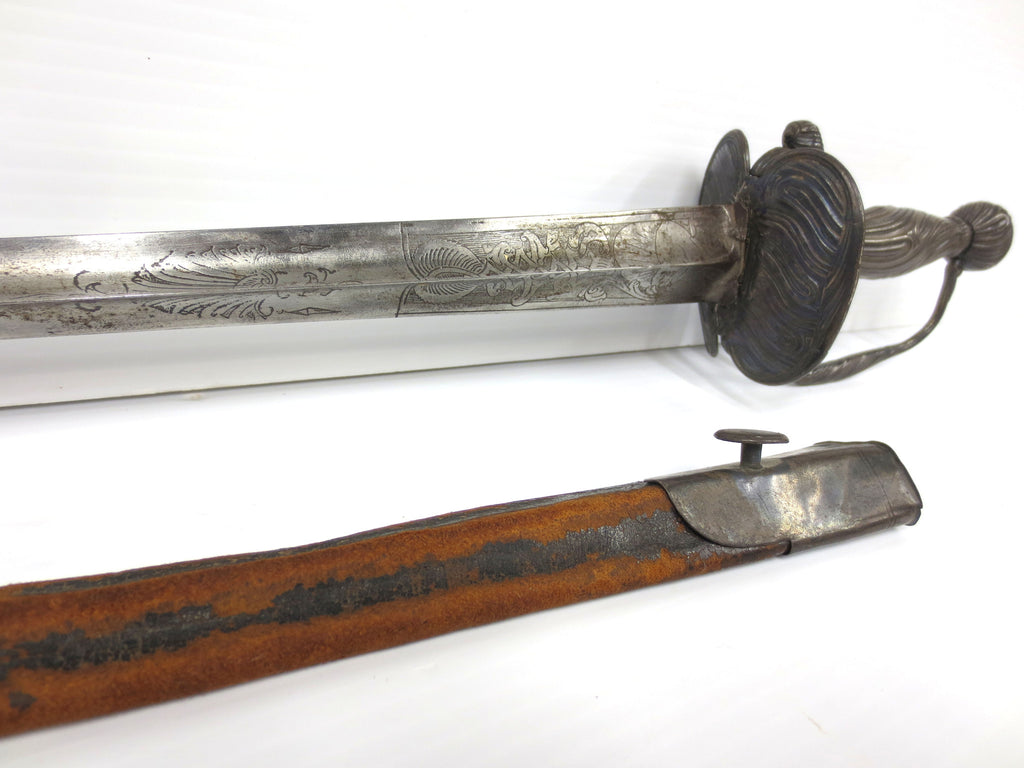 "Antique French Sword Rapier 17th Century X"" with Scabbard, Man Under Sun"