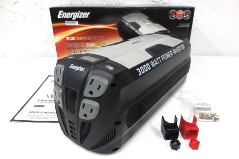 New Energizer 3000W 12-Volt Power Inverter 6000W Peak, Manual, 4 Outlets, 4 USB
