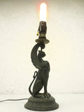 "Antique 1880s Gargoyle Dragon Bronze Gas Light 18"" Converted to Electricity RARE"