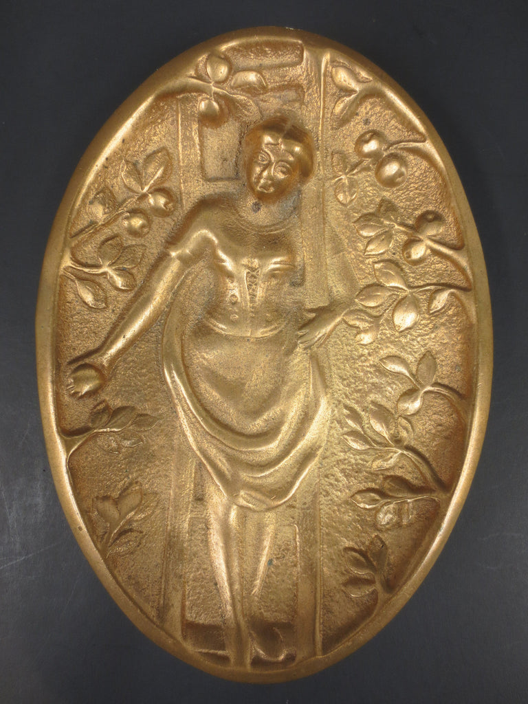 Antique Erotic Bronze Plate Art Nouveau, Woman Apple Picking, Lifted Skirt