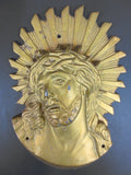Tabernacle Ornament Jesus Christ Cast Iron, Gold Church Altar Crown of Thorns