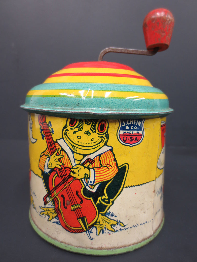 1930's J.Chein Tin Toy Music Box, Lithographed Frog Band Playing, WORKS