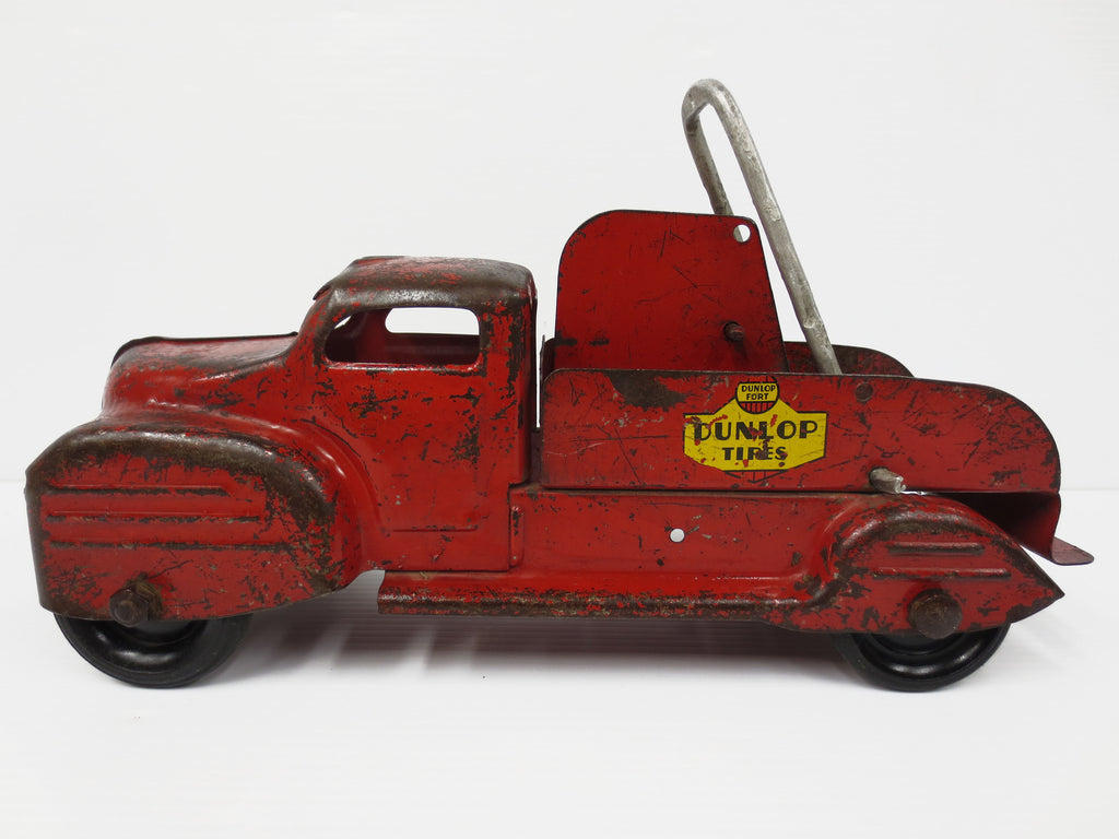 "Lincoln Toys Red Tow Truck 13"" DUNLOP TIRES, Pressed Steel, Wood Coil"