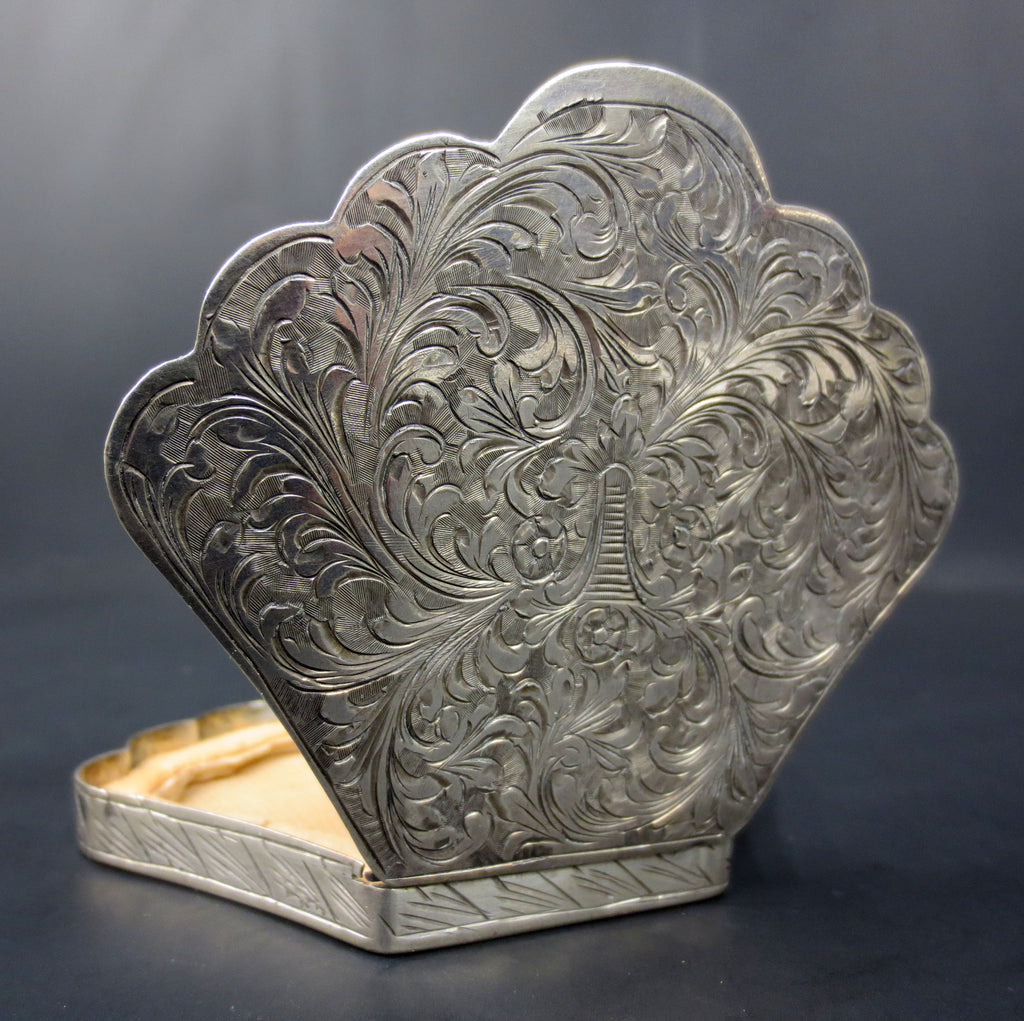 Antique Italian 800 Silver Cosmetic Case, Victorian Shell Shaped Powder Box