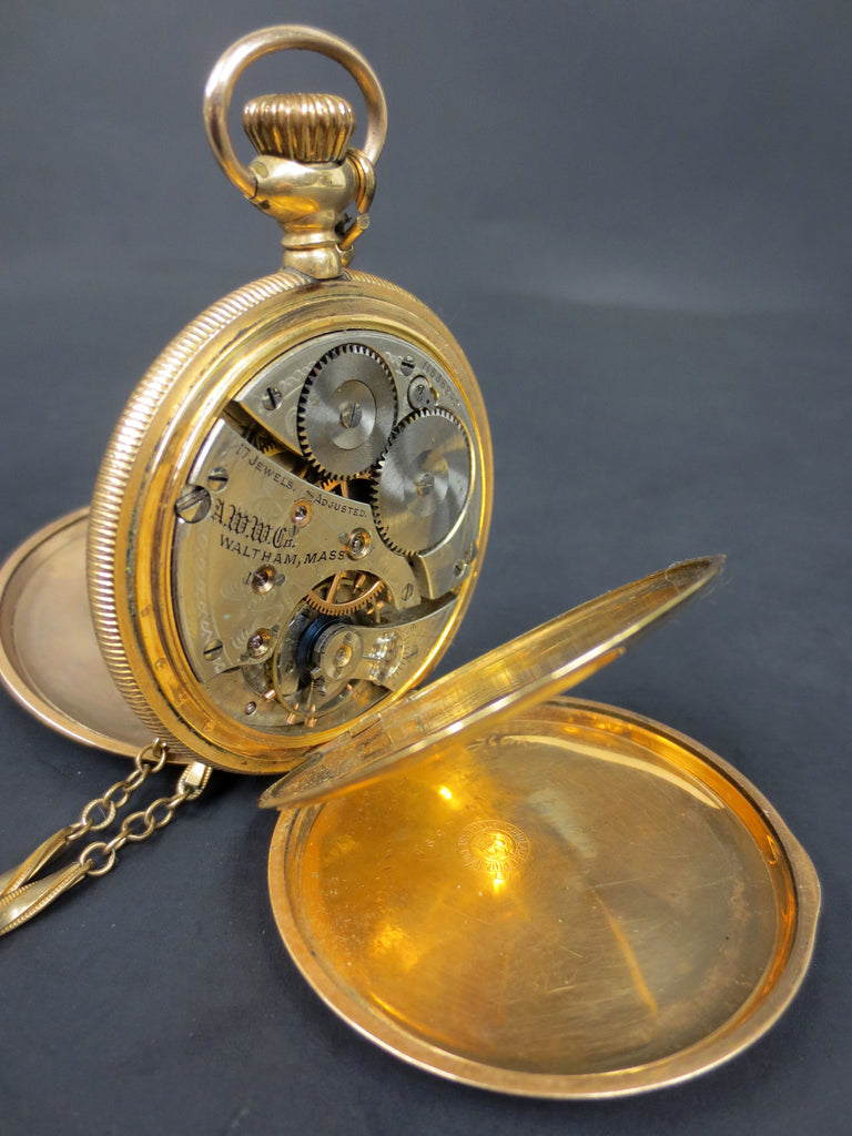 Antique 1902 Waltham Royal Pocket Watch 14k GF Hunting Case 3 Covers #1899