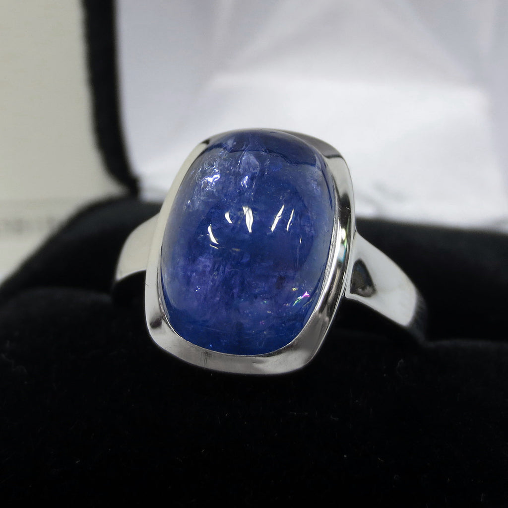 Cabochon Ring 9.8 Carats Large Genuine Blue Tanzanite, Size 9, 1500 Value Certif