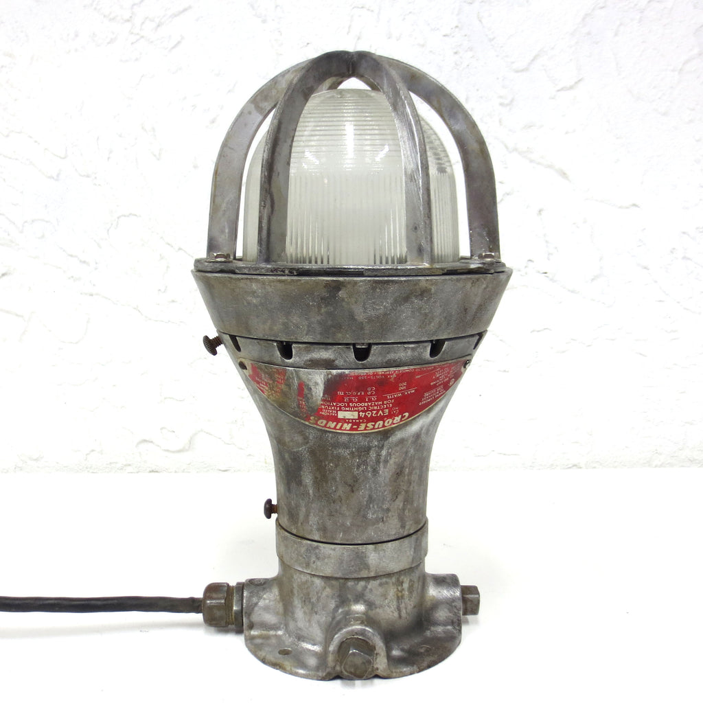 "Vintage Crouse Hinds Explosion Proof Emergency Light 13.5"", Industrial Loft Lamp"