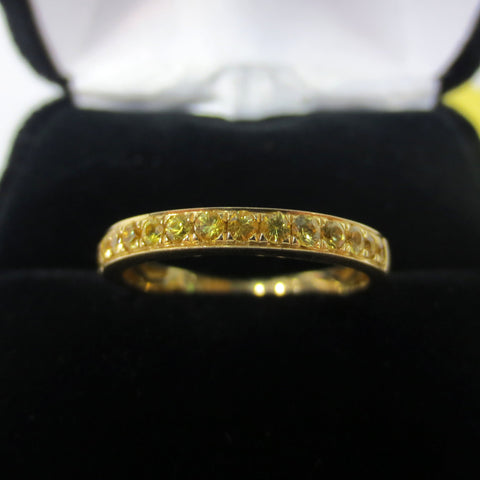 14K Gold Band Ring with 14 Genuine Sapphires 0.50 Carats, 1450 Value Certified