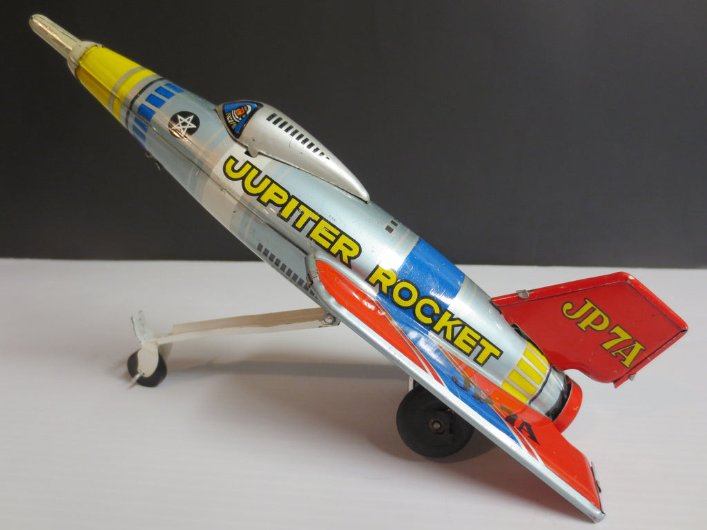 Jupiter Rocket Plane Tin Wind-Up Toy by Masuya, Japan, 9""