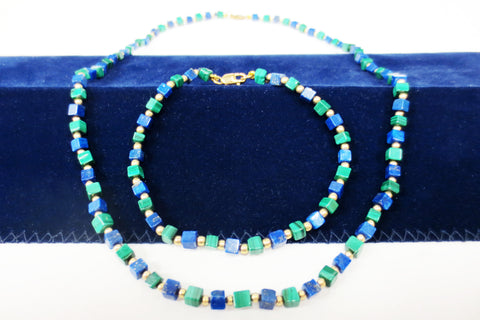 Genuine Lapis Lazuli & Malachite Necklace & Bracelet with 14k Gold Filled Beads