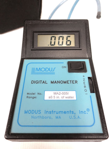 Dual Digital Manometer Pressure Meter by Modus, 0.5 in of Water Range, Original Pouch, Tested and Certified