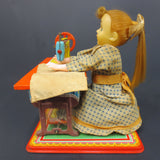 "Vintage 1950s Tin Dolly Dressmaker 7"" Battery Sewing Toy TN Nomura WORKS"