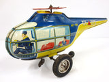 "Vintage Wind Up Tin Toy Helicopter 13"" Pilot Passenger, Technofix Germany, Works"