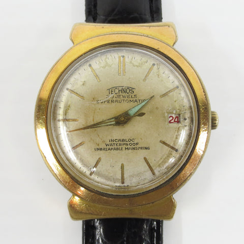 Vintage 1940's Technos 30 Jewels Super Automatic Swiss Watch, Fancy Lugs, Date