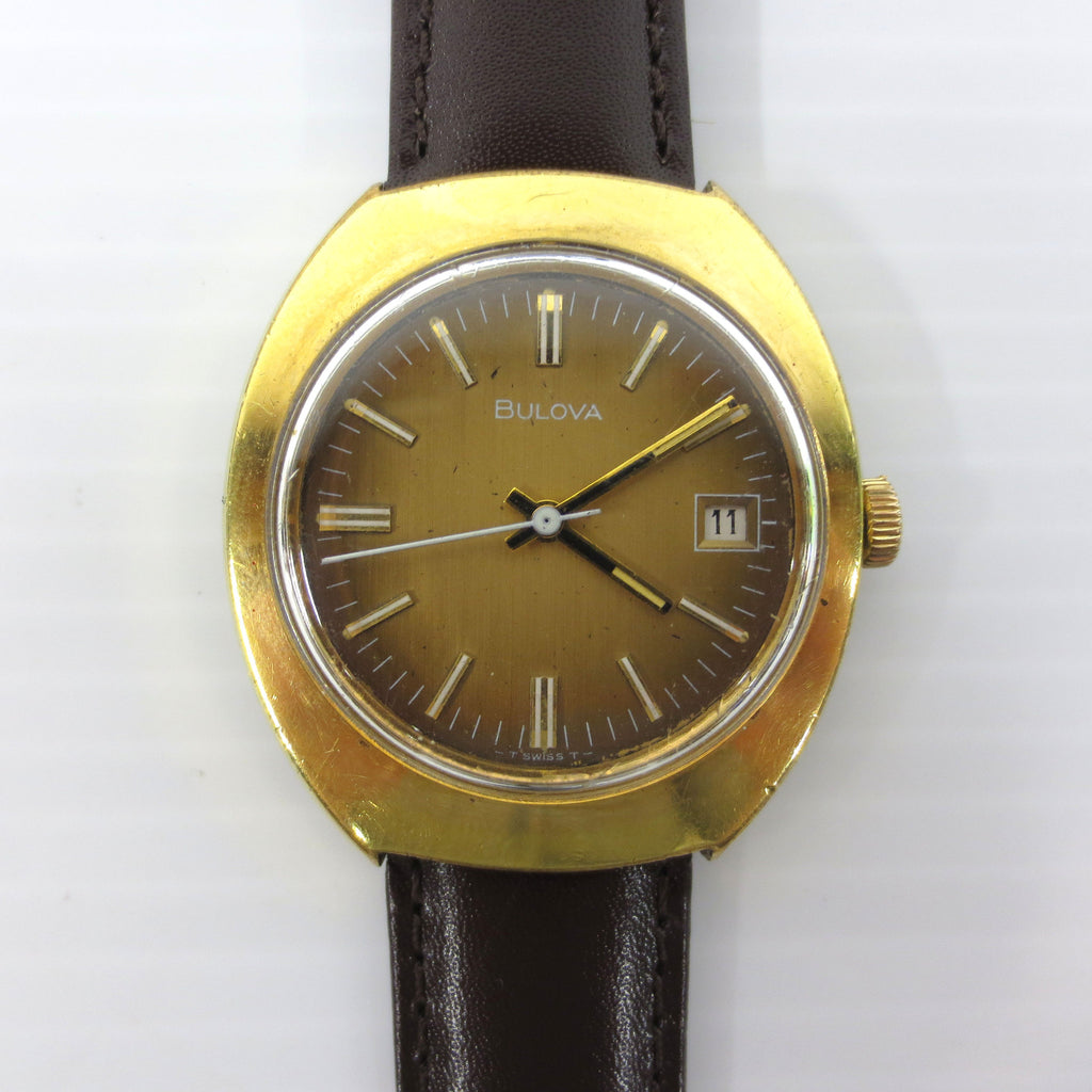 Vintage Bulova Watch 17 Jewels N3 with Date, Gold Tone, Gradient Dial
