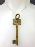"Original Antique Brass Hotel Skeleton Key Room Number 406, Solid Barrel, 3"" Long"