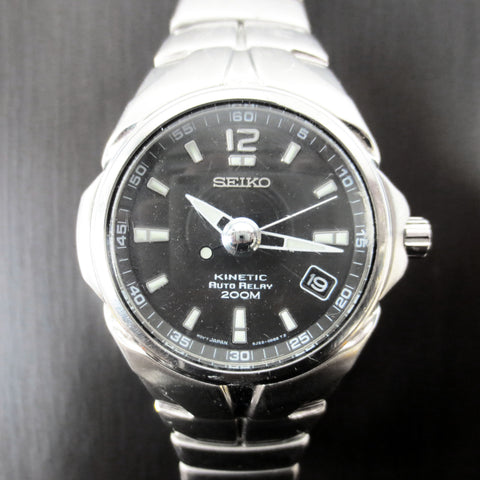 Seiko Kinetic Auto-Relay 20Bar 200M 5J22-0E20, Date, Black Dial, Automatic Watch