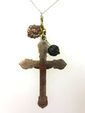 "Vintage Nun's Ornate Crucifix Cross Pendant 1.5"", Wood Flower, Bourgeoys Charm"
